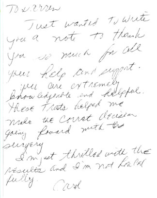 thank-you-card from Dr. Prasad's patients