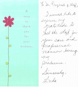Thank you Card from Dr. Prasad's patients